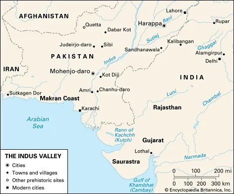Indus valley civilization: historical map of Indus Valley ...
