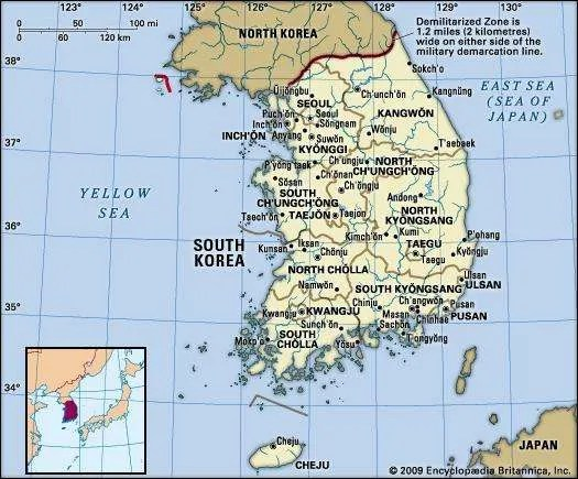 Major Physical Features South Korea