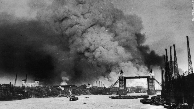 World War II Fast Facts   CNN Smoke rises behind Tower Bridge during the first mass daylight bombing of  London on September 7  Photos  World War II