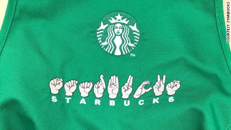 You ll be able to order in sign language at this Starbucks   CNN Video Starbucks sign language apron