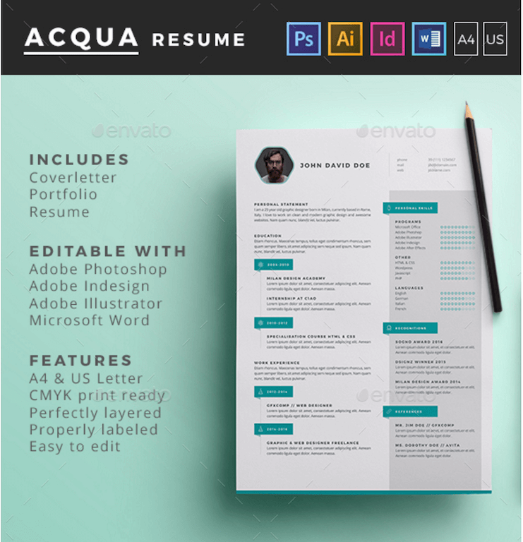 Best Free Resume Templates in PSD and AI in 2018   Colorlib Acqua Resume GraphicRiver