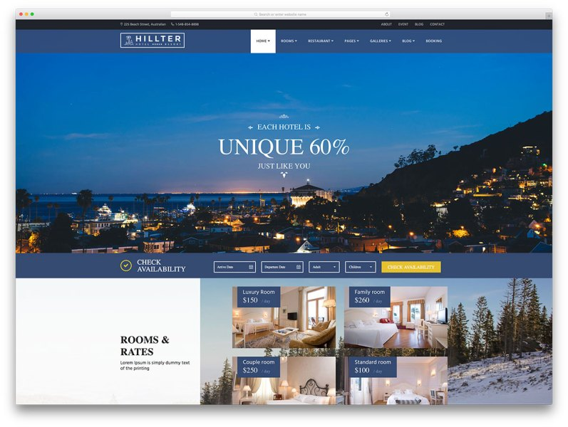 30  Best Hotel  Apartment   Vacation Home Booking WordPress Themes     hillter creative hotel website template