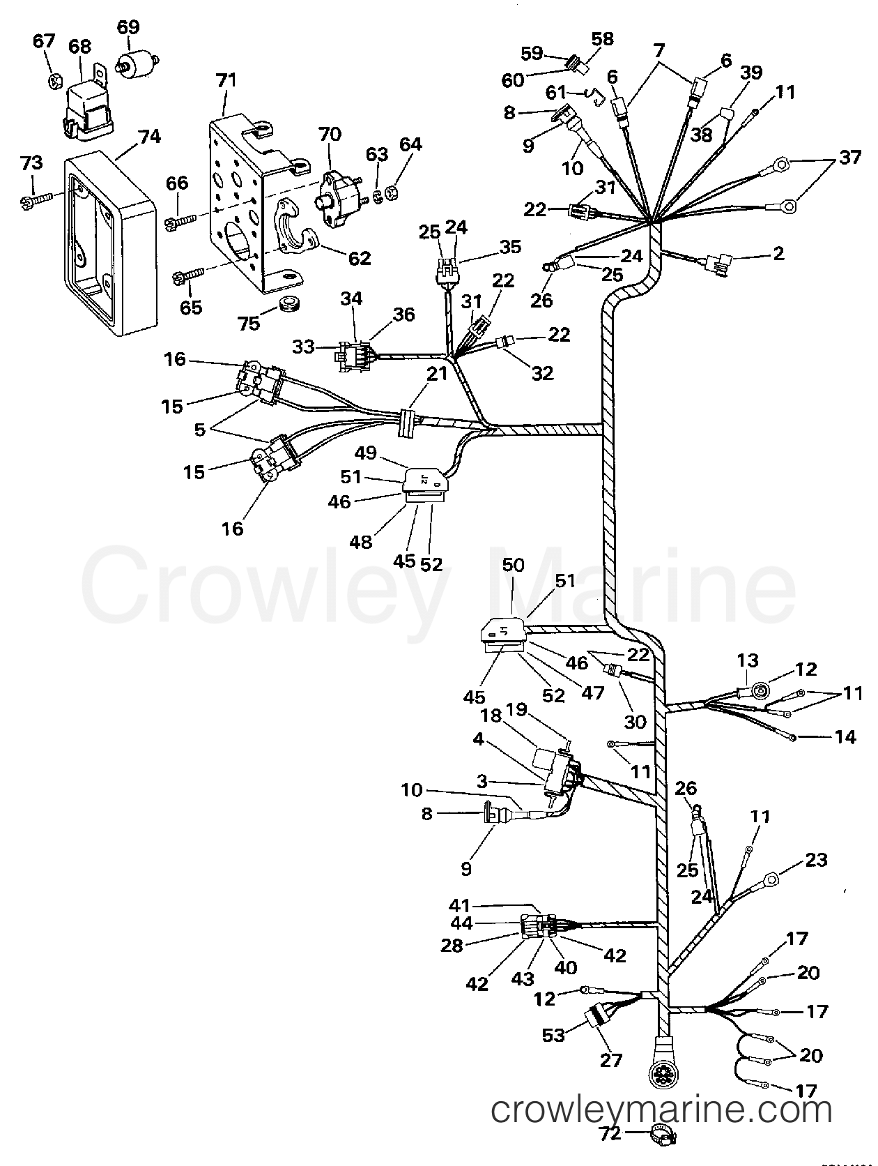1997 omc stern drive 4 3 434bplkd engine wire harness bracket tbi models