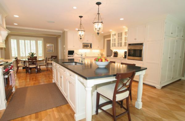 hanging lights over a kitchen island # 36