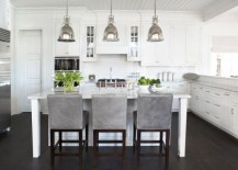hanging lights over a kitchen island # 70