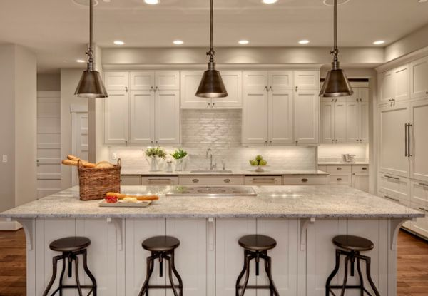 hanging lights over a kitchen island # 6
