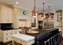 hanging lights over a kitchen island # 13