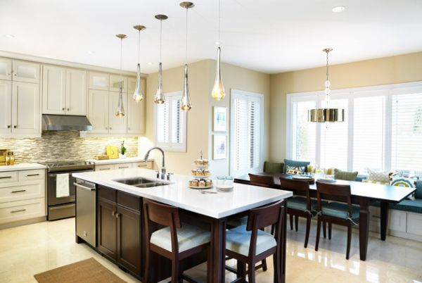 hanging lights over a kitchen island # 3