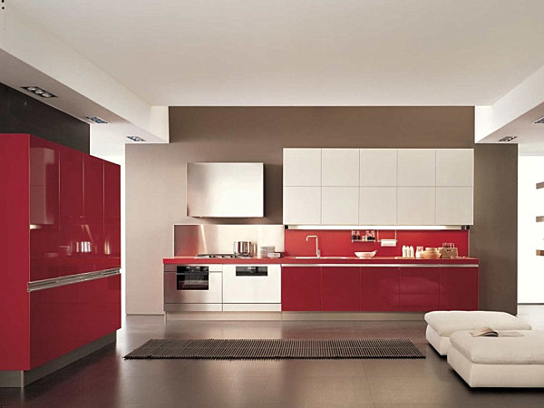 White Kitchen Red Accents