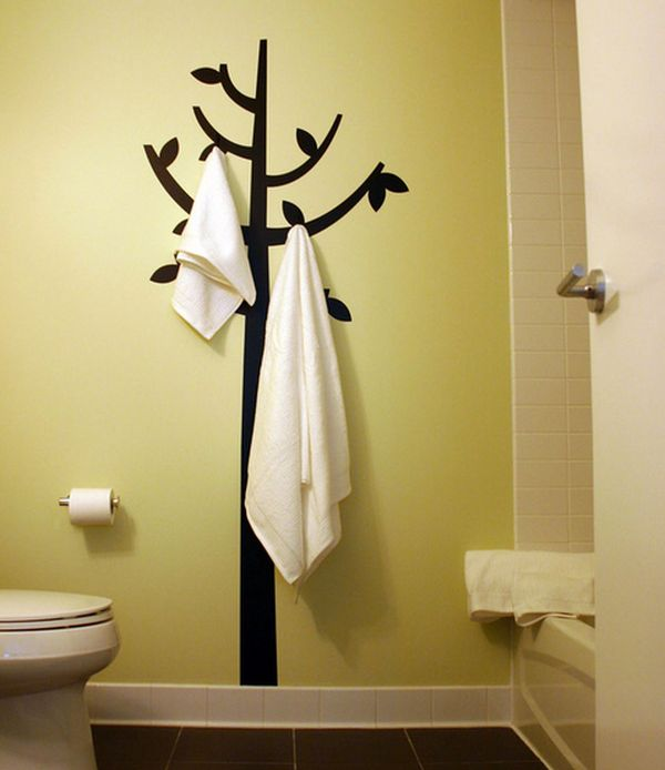Beautiful Bathroom Towel Display And Arrangement Ideas View in gallery Hook and decal combination double up as engaging bathroom  wall decor