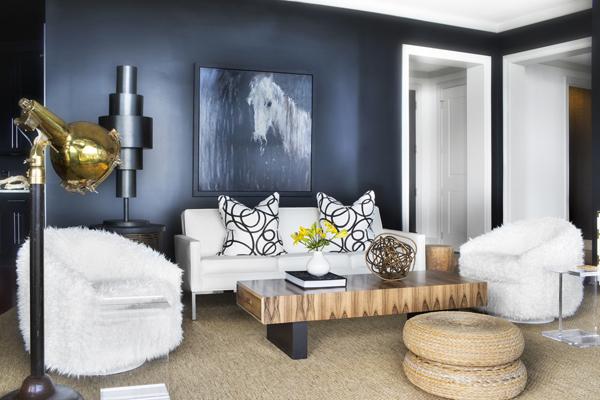Dark Blue Living Room Chair