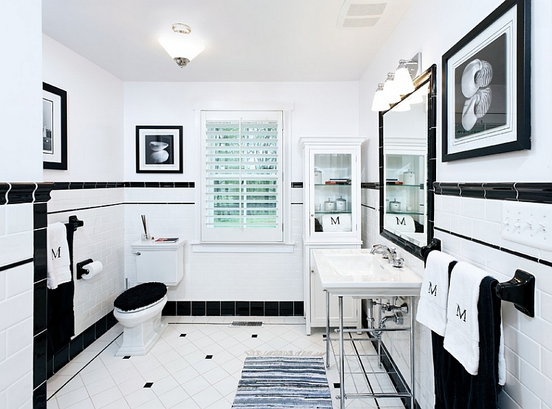 Black And White Bathrooms  Design Ideas  Decor And Accessories View in gallery Trendy black and white bathroom
