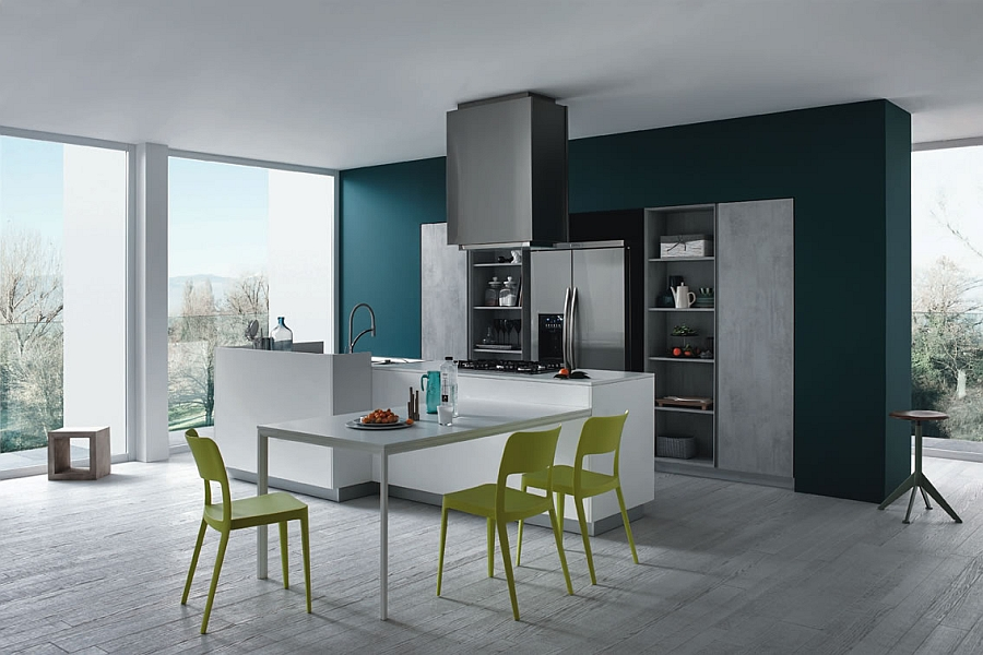 Functional And Fashionable Kitchen Gives Minimalism A Casual Twist  View in gallery Colorful accent chair additions shine through thanks to the  minimal and neutral kitchen backdrop