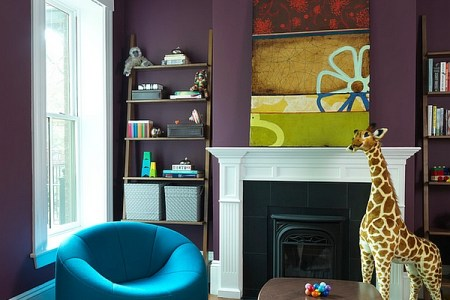 Hot Color Trends  Coral  Teal  Eggplant and More View in gallery Stylish kids  room with walls in eggplant