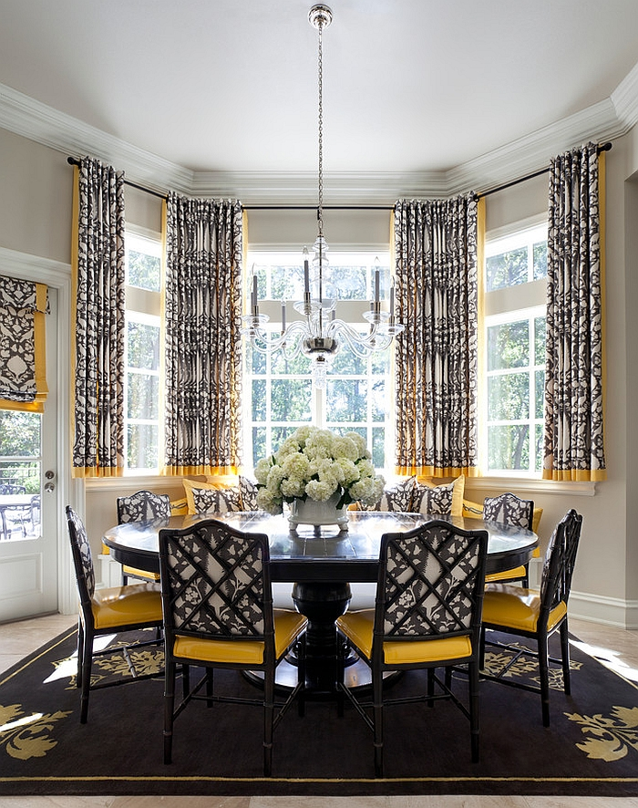How to Use Yellow to Shape a Refreshing Dining Room     Transitional dining room in black and yellow  Design  Tobi Fairley  Interior Design