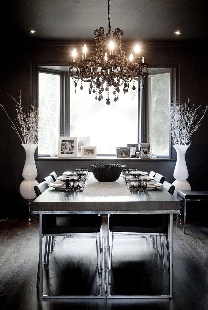 How to Use Black to Create a Stunning  Refined Dining Room     Eclectic dining room in black with hints of white   Design  Gaile  Guevara