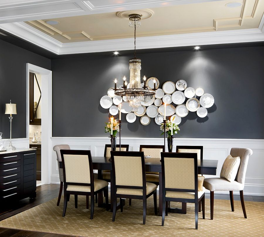 25 Elegant and Exquisite Gray Dining Room Ideas View in gallery Highlight wall art or a sculptural masterpiece with a gray  backdrop  Design  Jane Lockhart