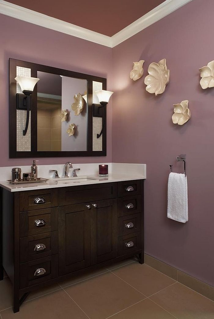 23 Amazing Purple Bathroom Ideas  Photos  Inspirations     Interesting use of wall art in the purple contemporary bathroom  Design   Xstyles Bath