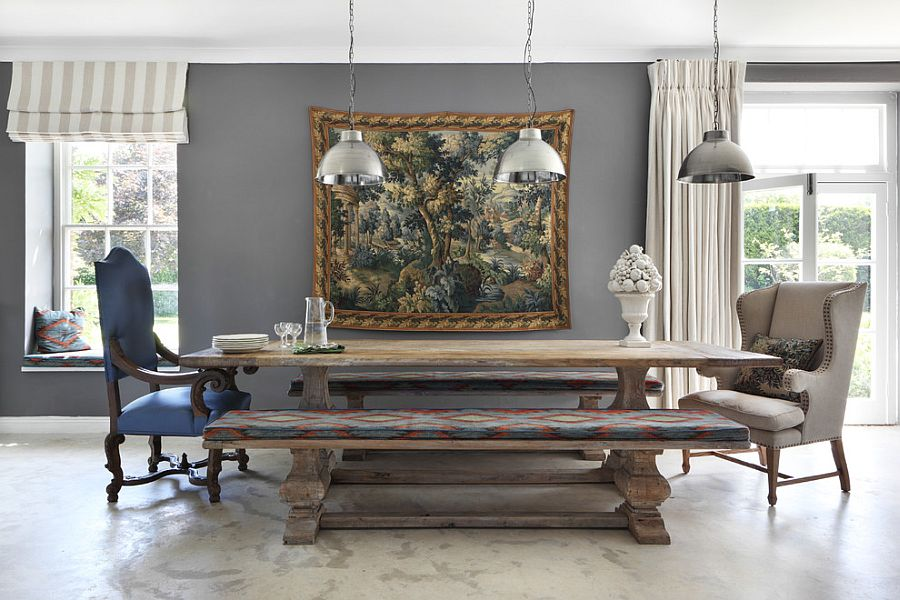 30 Unassumingly Chic Farmhouse Style Dining Room Ideas View in gallery Replace the traditional chairs with wooden benches in the dining  room  Design  VSP Interiors
