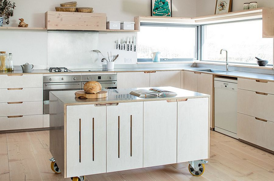 50 Modern Scandinavian Kitchens That Leave You Spellbound View in gallery Kitchen island on wheels for the stylish modern home   Design  Sustainable Kitchens