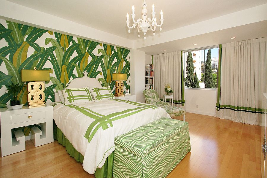 25 Chic and Serene Green Bedroom Ideas     Tropical style bedroom with palm leaf wall motif  Design  Michelle  Workman Interiors