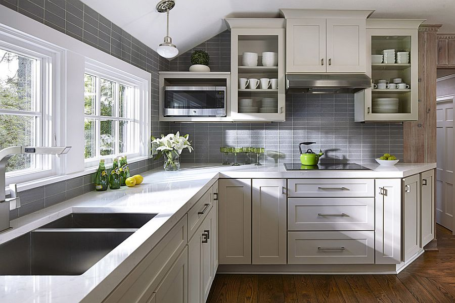 50 Gorgeous Gray Kitchens That Usher in Trendy Refinement     Gray tiles shape a lovely background in the small kitchen  Design   CliqStudios Cabinets