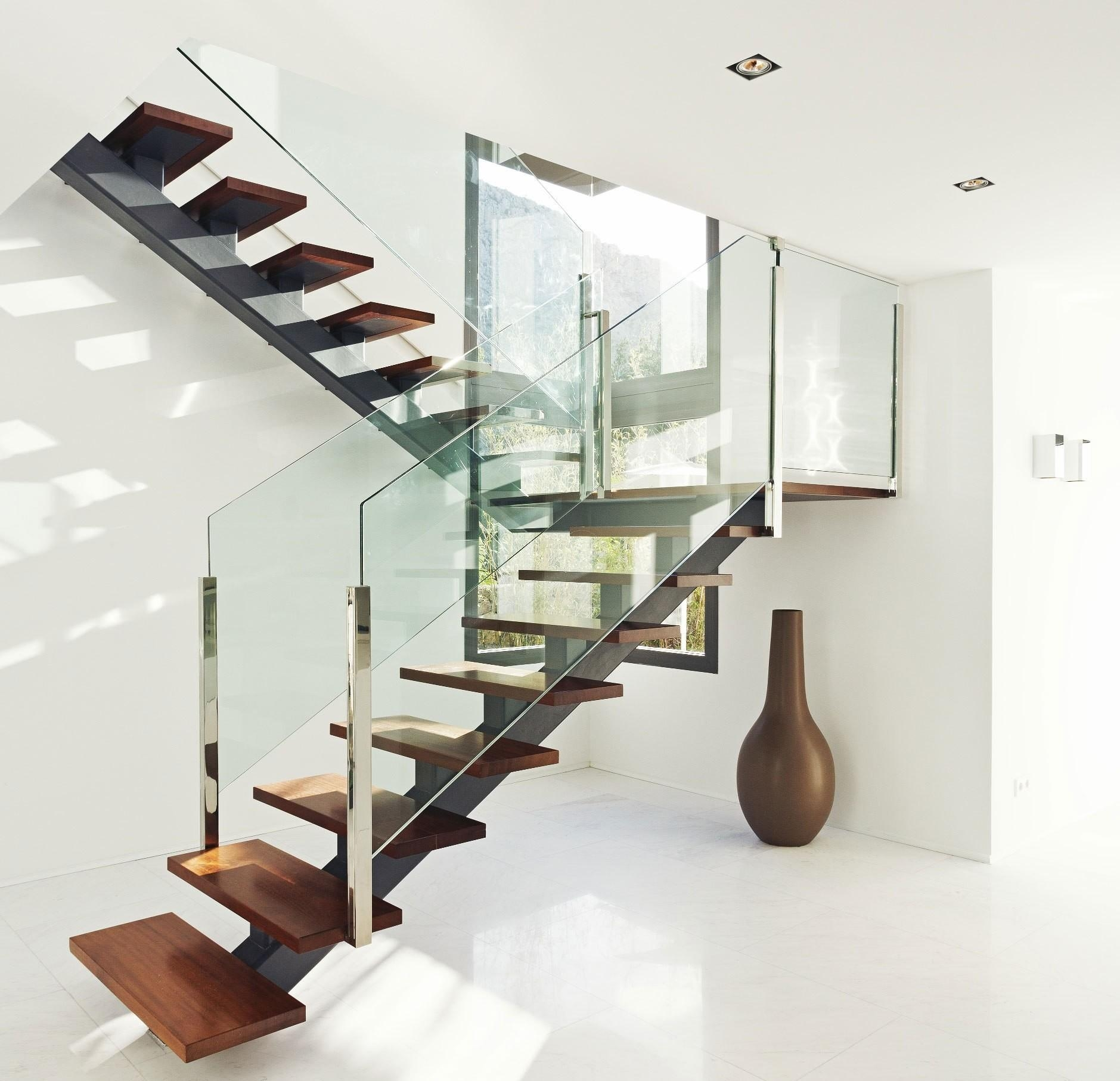 Fresh Glass Staircase Ideas Contemporary Design That Are Super | Glass And Chrome Staircase | Contemporary | White Post | Single Spine | Lights | Stainless Steel
