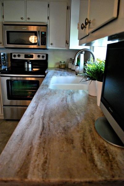 White Kitchen Gray Countertops