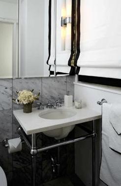 Black And White Roman Shades Transitional Bathroom