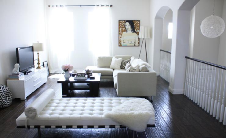 Coffee Table White Ottoman Tufted