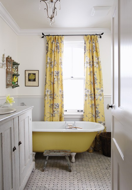 Yellow Grey Shower And Curtain