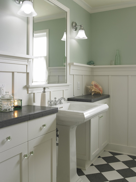 Black And White Checkered Bathroom Wood