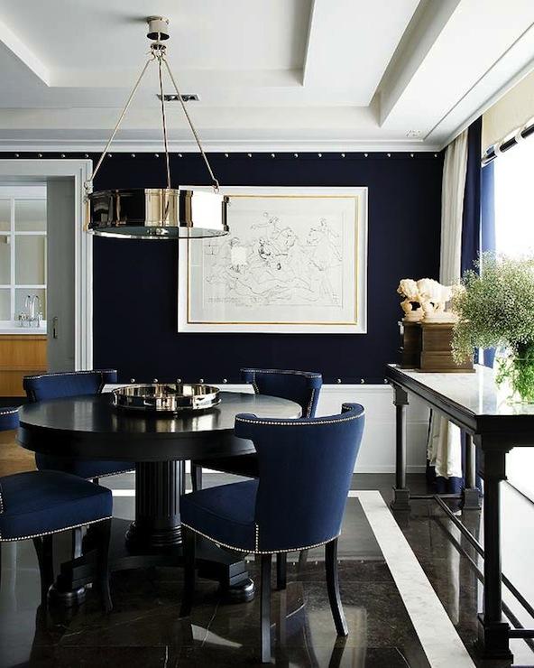 Navy Blue Velvet Accent Chair