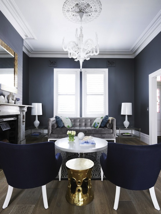 Navy And Gold Accent Chair