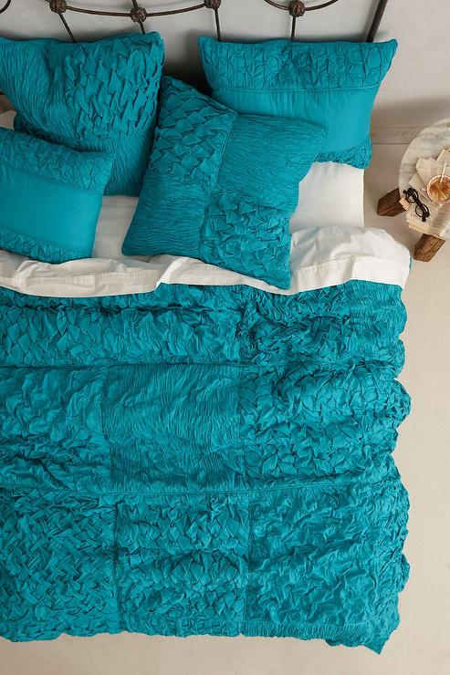 Teal Cotton Voile Squares Quilt