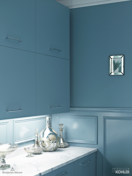Benjamin Moore Blue Paint Contemporary Living Room