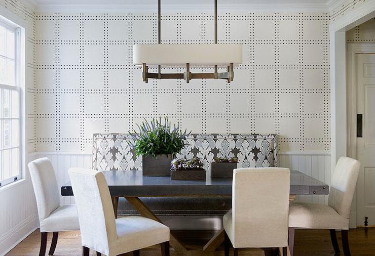 Studded Wallpaper Contemporary Dining Room Laura