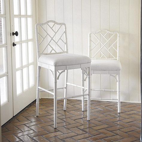 Terra Bamboo Swivel Counter Height Bar Stool In White