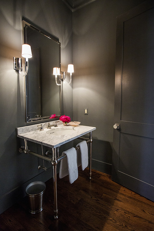 Gray Powder Rooms Transitional Bathroom Hallie