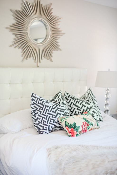 White Leather Tufted Headboard   Transitional   bedroom   Style Me     White Leather Tufted Headboard