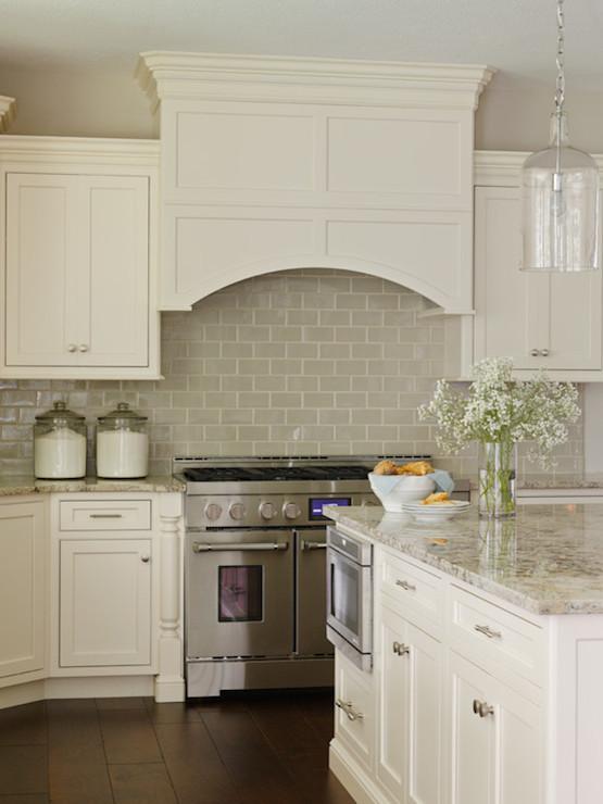 Ivory Kitchen Cabinets With Gray Backsplash Design