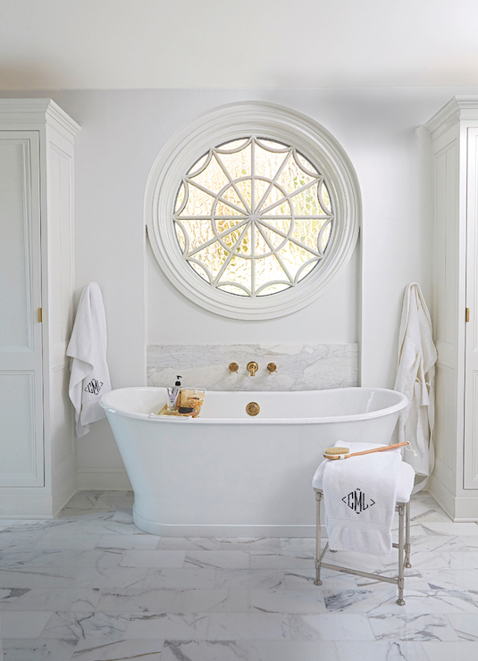 Bathtub With Gold Tub Filler Transitional Bathroom
