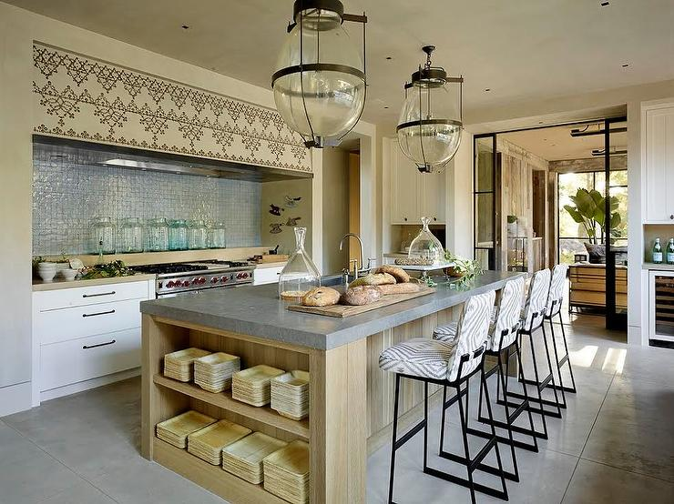 Island With Concrete Countertop Transitional Kitchen