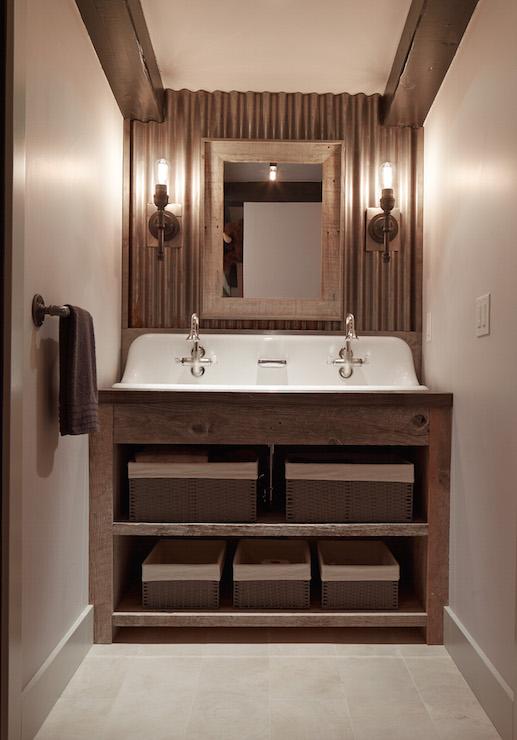 Galvanized Metal Backsplash Country Bathroom
