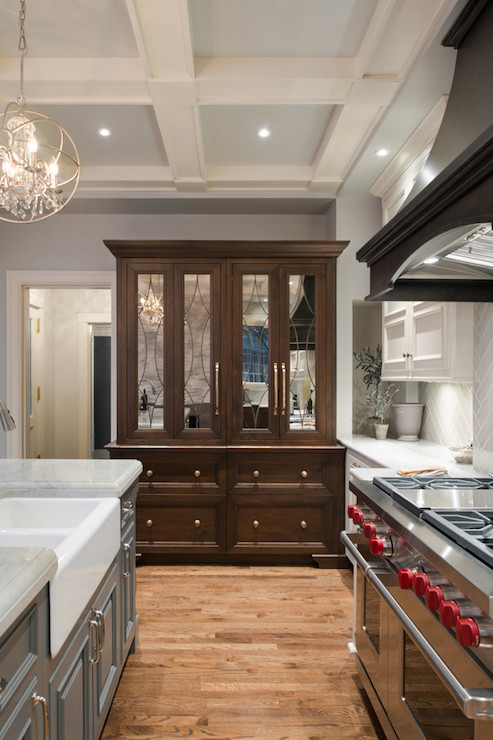 Hutch With Mirrored Doors Transitional Kitchen