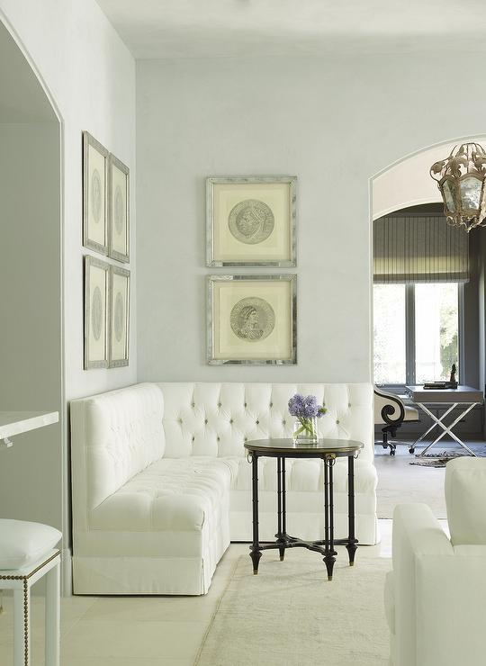 L Shaped Tufted Banquette Traditional Living Room