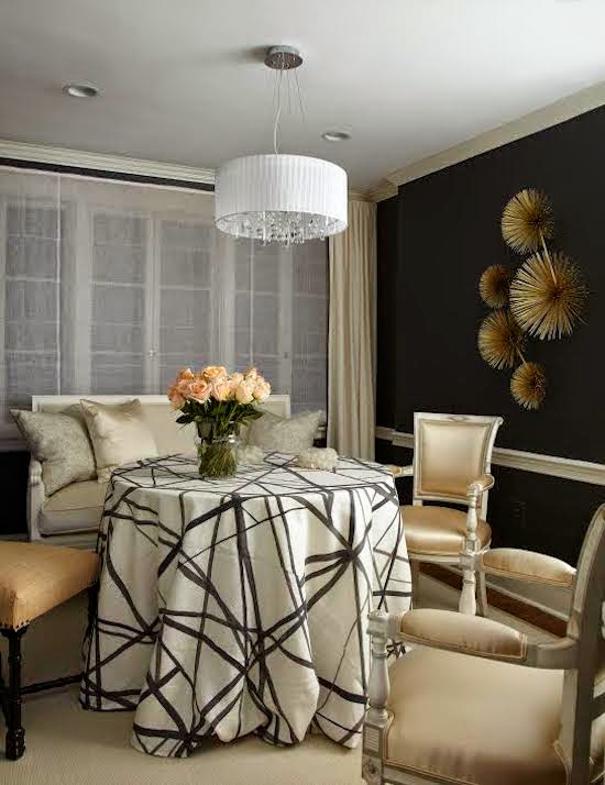 White And Dark Wood Dining Table