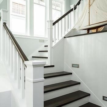White Spindles With Dark Brown Banister Design Ideas   Black Banister With White Spindles   Round   Antique   Finished Painted Stair   Oak Handrail Basket   Brazilian Cherry Stair