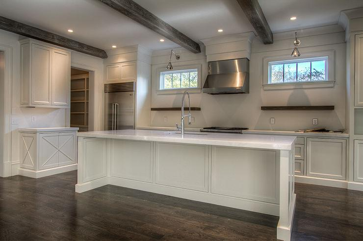 Gray Wood Ceiling Beams Transitional Kitchen
