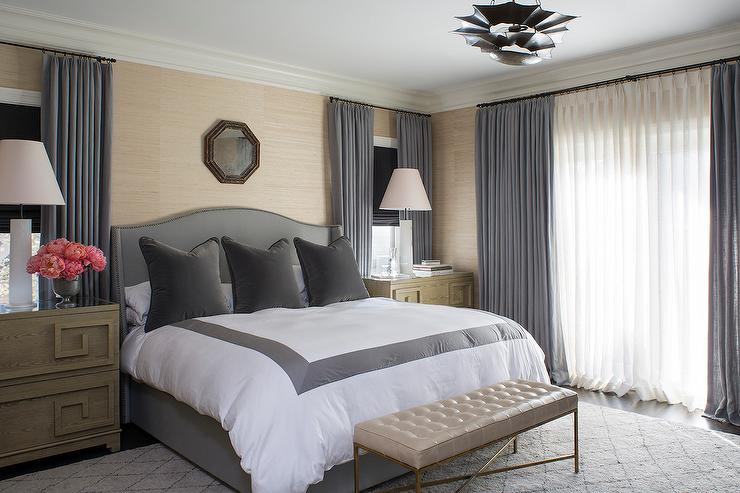 Gray Velvet Bench Contemporary Bedroom Finchatton